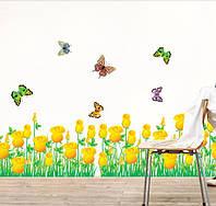 """Наклейка на стену, наклейка цветок, наклейки на шкаф """"Желтые Розы с бабочками"""", наклейки на окна"""
