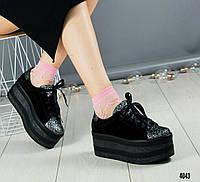 Кроссовки на высокой подошве черные, фото 1