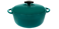 Кастрюля  чугунная эмалированная с чугунной крышкой. Цветная глянцевая. 8,0 литра. Зеленый, 300х140 мм