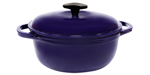 Кастрюля  чугунная эмалированная с чугунной крышкой. Цветная глянцевая. 8,0 литра. Синий, 300х140 мм