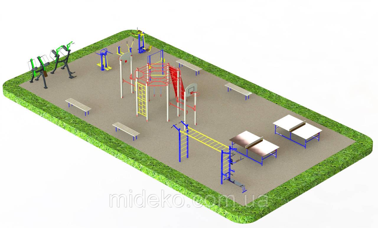 Спортивная площадка с уличными тренажерами 1336