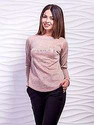 Трикотажный свитер с полукруглым низом