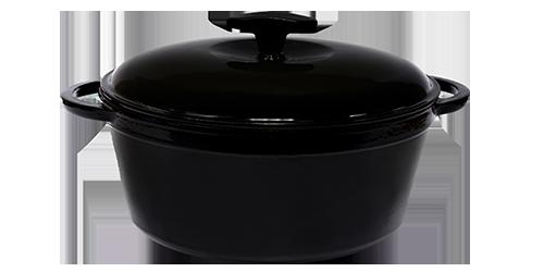 Кастрюля  чугунная эмалированная с чугунной крышкой. Цветная глянцевая. 8,0 литра. Черный, 300х140 мм