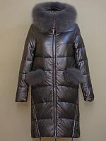 Зимняя женская куртка с натуральным мехом кожзам