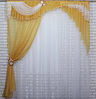 Ламбрекен с шторкой из шифона. Модель №111 Цвет янтарный с белым, фото 1