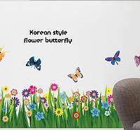 """Наклейка на стену, наклейка цветок, наклейки на шкаф """"полевые цветы с бабочками"""" 50*70см лист(1м60см)"""