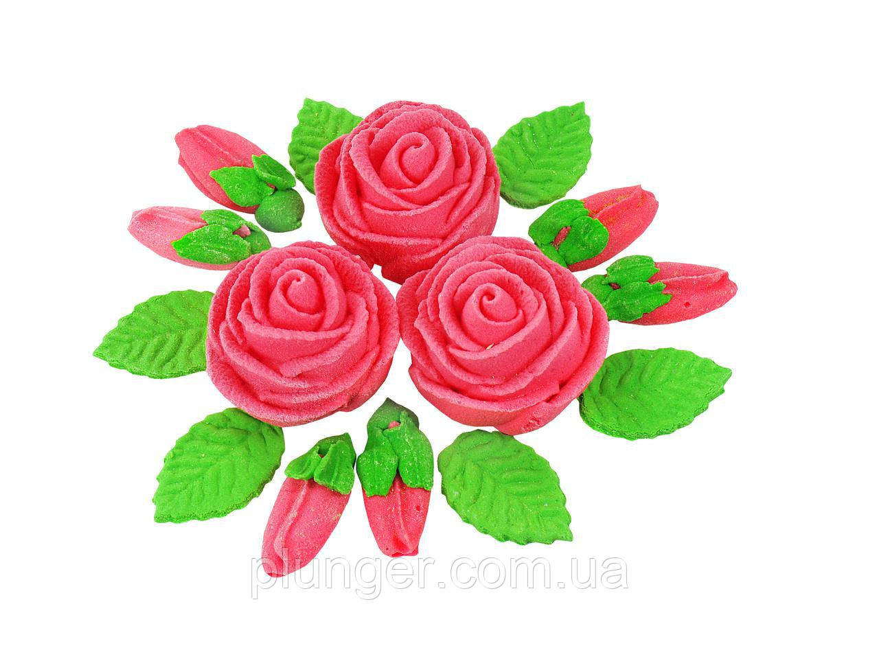 Цукрова прикраса для торта Букет троянд набір з 3 шт