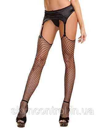 Чулки+пояс Women's Diamond Fishnet Thigh High Stockings, фото 2