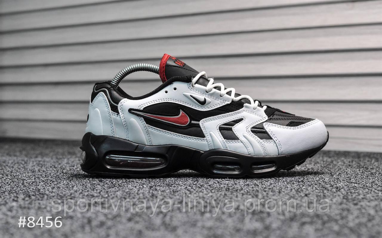 Кроссовки мужские белые Nike Air Max 96 White Black Red (реплика)