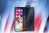 Nillkin Apple iPhone X/ XS 3D AP+MAX privacy tempered glass Black Защитное Стекло, фото 4