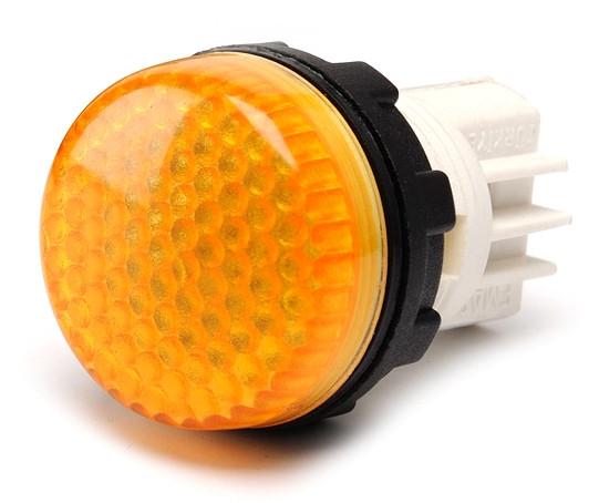 Арматура сигнальная 22мм с закрытыми зажимами под винт лампа 220В жёлтая