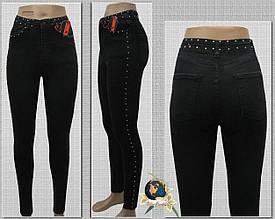 Джинсы женские чёрные с высокой посадкой Американка лампас-клёпки