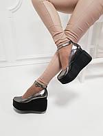 """Туфли цвет """"серебро"""" натуральная кожа код 21423, фото 1"""