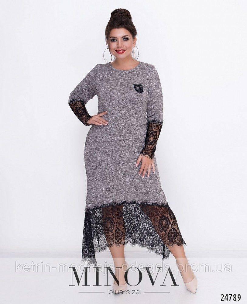 Модное женское платье с кружевом в расцветках большого размера, размеры 52, 54, 56, 58, 60, 62