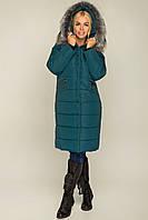 Женское плащевое пальто зимнее с мехом на капюшоне 6901105, фото 1