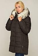 Женская зимняя куртка плащевая с меховой опушкой 6901106, фото 1