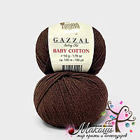 Пряжа Baby cotton Gazzal (Бэби коттон Газал), 3436, шоколад