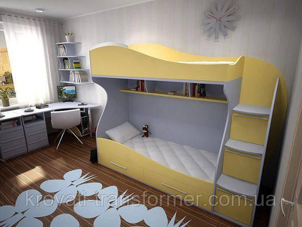 """Двухъярусная кровать """"Марго"""" белый +желтый"""