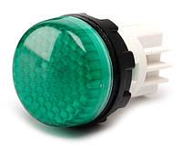 Арматура сигнальная 22мм с закрытыми зажимами под винт лампа 220В зелёная