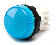 Арматура сигнальная 22мм с закрытыми зажимами под винт лампа 220В синяя
