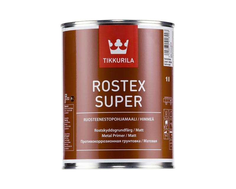 Грунт быстросохнущий TIKKURILA ROSTEX SUPER для металла и оцинковки светло-серый 1л