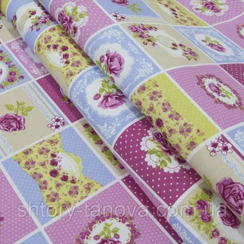 Декоративна тканина для штор, квітковий принт