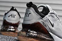 Кроссовки мужские серые Nike Air Max 270 Silver / Dark Bordo (реплика), фото 3