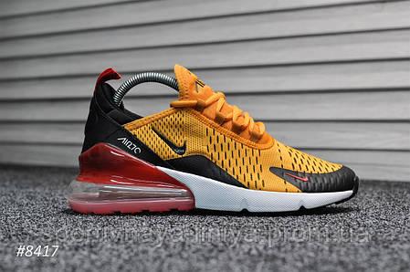Кроссовки мужские оранжевые Nike Air Max 270 Tiger University (реплика), фото 2