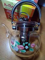 Стеклянный чайник-заварник А-Плюс 1200 мл, ручка бакелит, боросиликатное стекло, ситечко для заварки