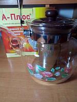 Стеклянный чайник-заварник А-Плюс 600 мл, ручка бакелит, боросиликатное стекло, ситечко для заварки