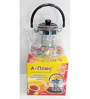 Стеклянный чайник-заварник А-Плюс 2200 мл, ручка бакелит, боросиликатное стекло, ситечко для заварки