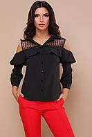 Стильна блуза з воланами з софту та сітки в горох, фото 1