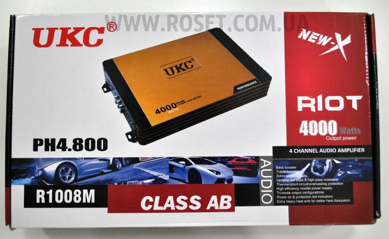 Автомобильный усилитель 4-канальный - UKC Riot R-1008M 4CH 4000 W