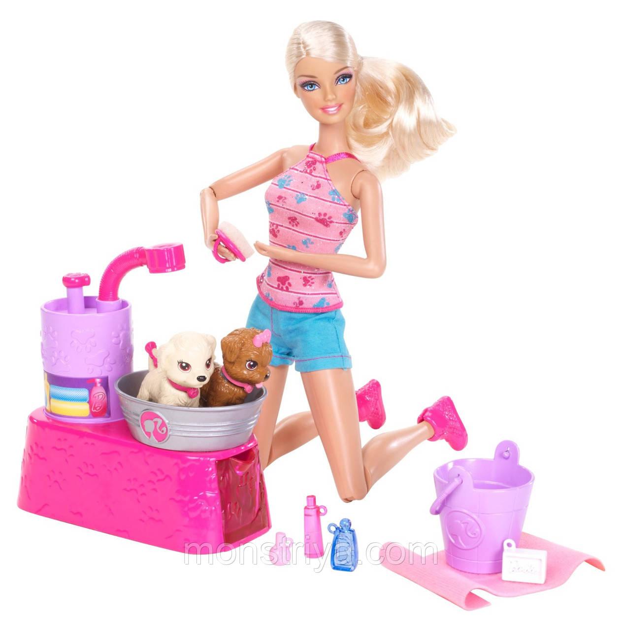 "Barbie Кукла Барби с набором ""Купание щенков"""