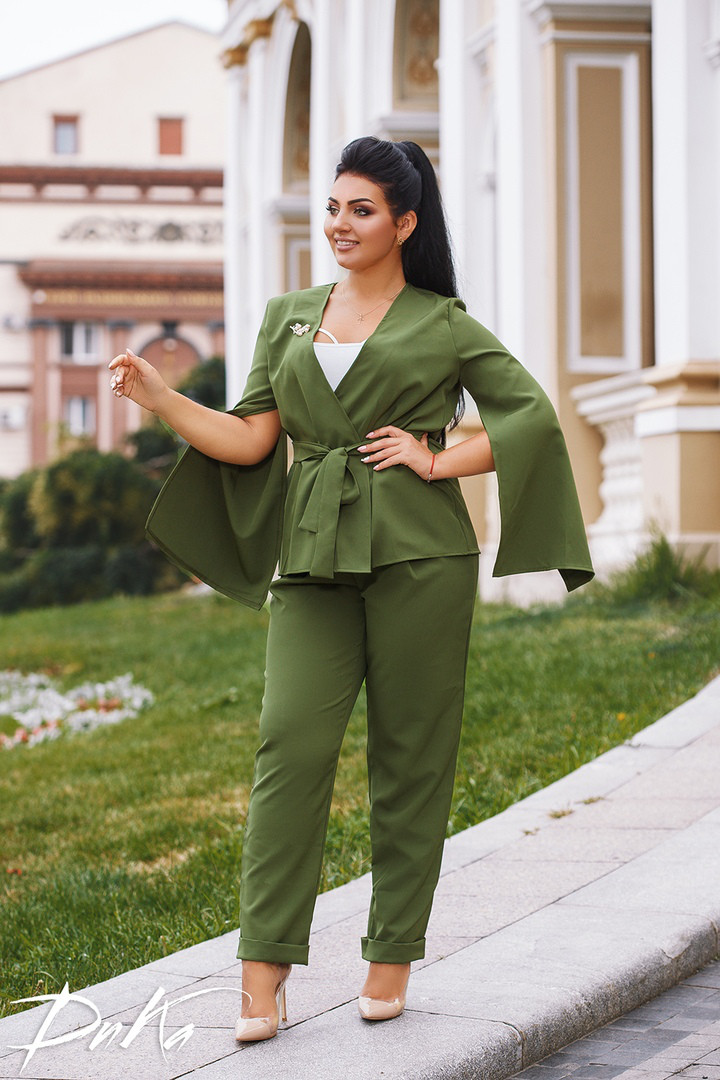 Женский костюм двойка брюки + кофта пиджак креп костюмка батал размеры:50,52,54,56