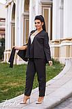 Женский костюм двойка брюки + кофта пиджак креп костюмка батал размеры:50,52,54,56, фото 5