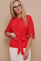 Шикарна блуза з софту, шифону на рукавах та кружева, фото 1