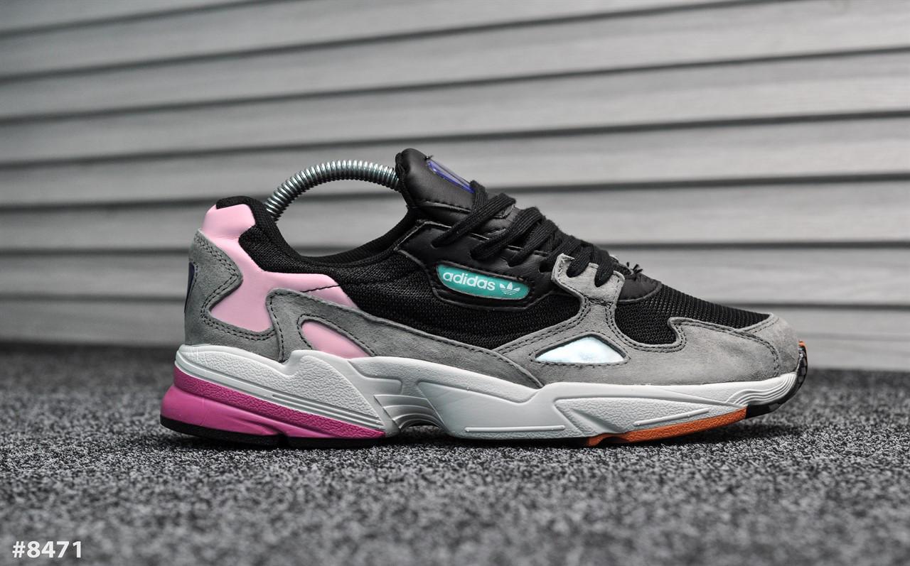 Мужские кроссовки Adidas Yung Falcon Black Pink Реплика ААА