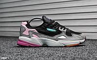 Мужские кроссовки Adidas Yung Falcon Black Pink Реплика ААА, фото 1