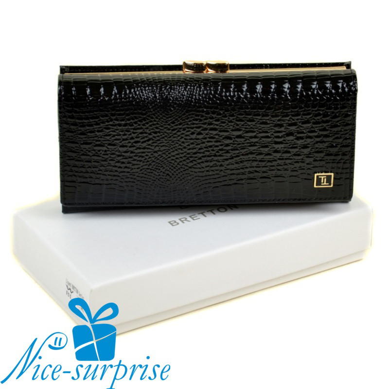 2fb5044d96cb Женский лаковый кожаный кошелёк Bretton W1 black (серия Lizard) -  Интернет-магазин подарков