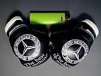 Боксерские перчатки в машину на стекло сувенир брелок черные-белый накат  Mersedes
