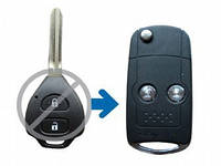 Ключ Toyota RAV4, Corolla выкидной корпус 2 кнопки Silver Ring New