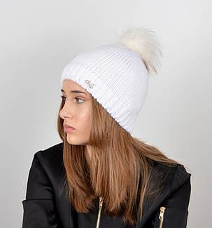 """Вязаная женская шапка """"Linda"""" с меховым помпоном, фото 2"""
