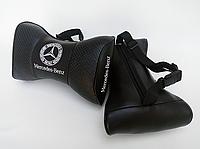 Подушки на подголовник в авто Мерседес чёрный цвет перфорация