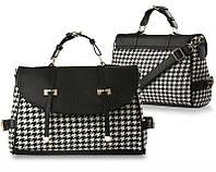 Женская сумка в черно-белую клетку ,сумка женская -портфель