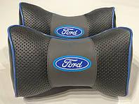 Автомобильная подушка на подголовник в авто автомобиль логотип Ford серый цвет перфорация