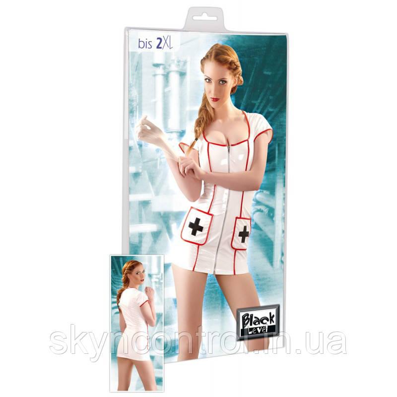 Эротическое платье медсестры Black Level - Vinyl Nurse Dress XL