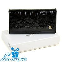Женский лаковый кожаный кошелёк Bretton W46 black (серия Lizard), фото 1