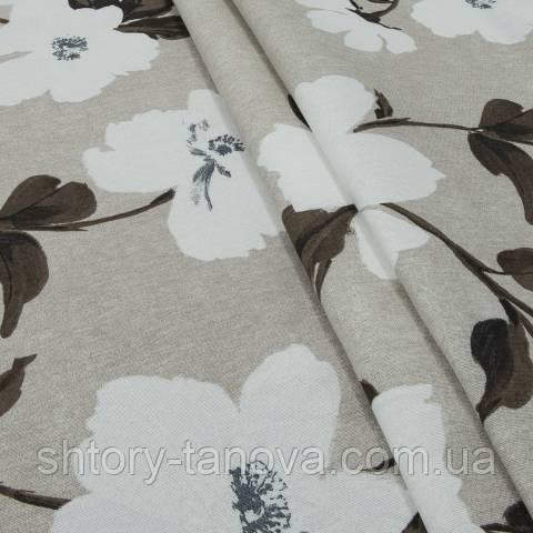 Декоративна тканина для штор, білі квіти