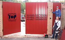 Распашные ворота TOR зашив профнастилом